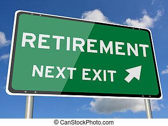 blaues, pensionierung, wegweiser, himmelsgewölbe, nächste, roadsign, ausgang