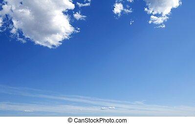 blaues, perfekt, wolkenhimmel, himmelsgewölbe, sonnig, tageszeit, weißes