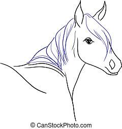 blaues, pferd, mähne