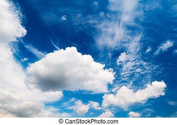 blaues, phantastisch, himmelsgewölbe, bewölkt