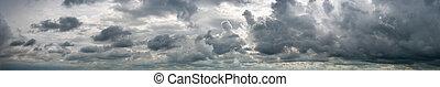 blaues, phantastisch, wolkenhimmel, himmelsgewölbe, panorama, gegen