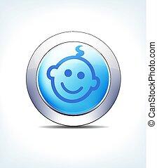 blaues, pharmazeutisch, &, kind, taste, healthcare, ikone, blaß, symbol