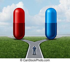 blaues, pille, rotes , wahlmöglichkeit