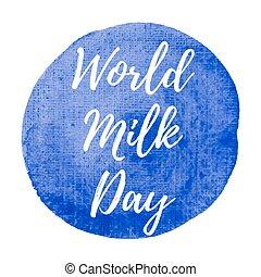 blaues, plakat, karte, gemalt, text, abbildung, milch, feiertag, geschrieben, vektor, logo, hintergrund, feier, welt, wörter, tag, beschriftung