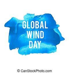 blaues, plakat, karte, gemalt, text, global, abbildung, feiertag, geschrieben, wörter, wind, hintergrund, feier, tag, logo