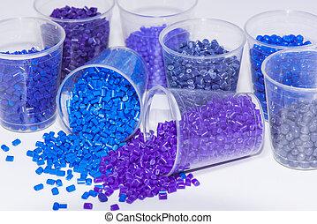 blaues, polmyer, harz, violett