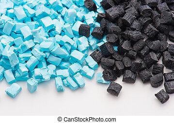 blaues, polymer, schwarz, harz