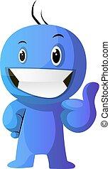 blaues, positiv, abbildung, vektor, hintergrund, caracter,...