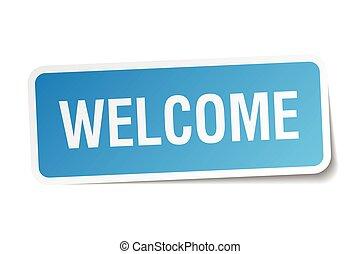 blaues quadrat, aufkleber, herzlich willkommen,...