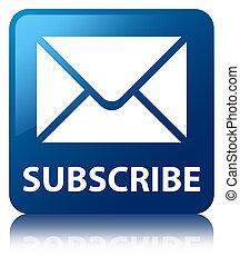 blaues quadrat, (email, taste, unterzeichnen, icon)