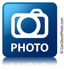 blaues quadrat, foto, (camera, icon), taste