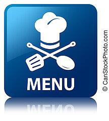 blaues quadrat, menükarte, taste, (restaurant, icon)