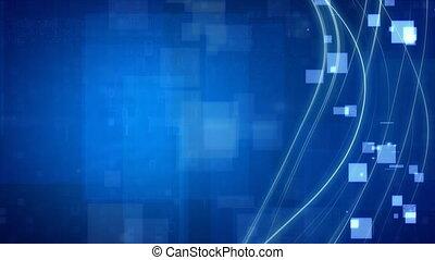blaues, quadrate, linien, schleife, strömend