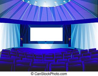 blaues, räumlichkeiten, schirm, theater