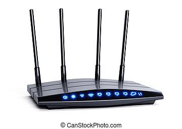 blaues, radio, vier, anzeiger, schwarz, antennen, router, wi-fi