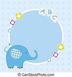 blaues, rahmen, elefant
