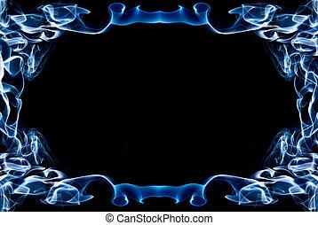 blaues, rahmen, rauchwolken