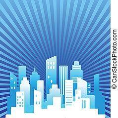 blaues, real estate, hintergrund