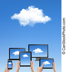 blaues, rechnen, concept., himmelsgewölbe, hand, vector., cloud., weiße wolke