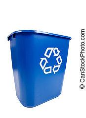 blaues, recucle, behälter, -, mülltrennung, umwelt, thema