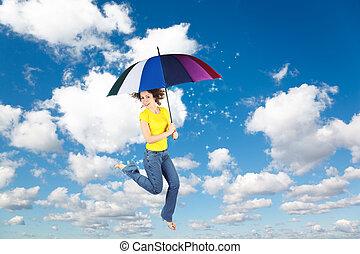 blaues, regenbogen, frau, schirm, collage, flaumig, fliegendes, himmelsgewölbe, mond, weißes, wolkenhimmel