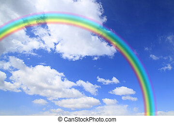 blaues, regenbogen, himmel-wolke