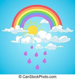 blaues, regenbogen, wolkenhimmel, himmelsgewölbe, regen, vektor, fallender