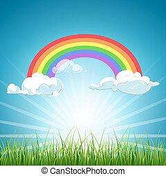 blaues, regenbogen, wolkenhimmel, himmelsgewölbe, vektor, gras