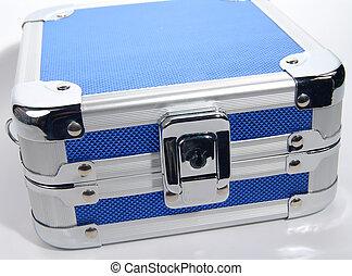 blaues, reisekoffer, metall