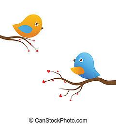 blaues, reizend, lieben vögel, datum