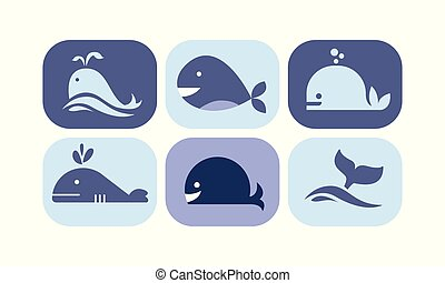 blaues, reizend, tiere, meer, heiligenbilder, satz, abbildung, farben, vektor, hintergrund, zeichen & schilder, wal, weißes, kreatur