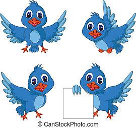 blaues, reizend, vogel, sammlung, karikatur