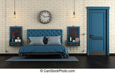 blaues, retro, meister, schalfzimmer