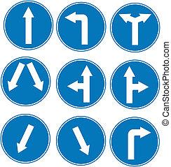 blaues, richtung, verkehrszeichen