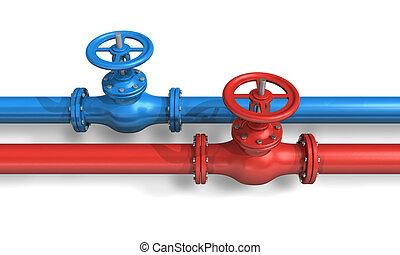 blaues, rohrleitungen, rotes