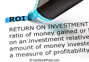 blaues, roi, rückkehr, hervorgehoben, markierung, investition