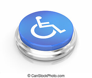 blaues, rollstuhl, unfähigkeit, abbildung, behinderten, person, symbol, taste, runder , 3d