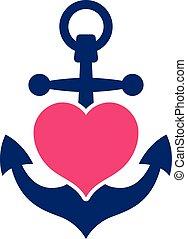 blaues, rosa, marine, schiffsanker, herz