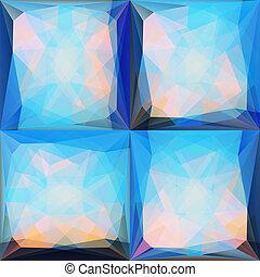 blaues, rosa, satz, abstrakt, hintergruende, dreieckig