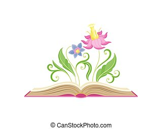 blaues, rosa, zentrieren, fabelhaft, üppig, leaves., abbildung, groß, hintergrund., vektor, blütenblätter , stößel, weisse blumen