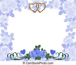 blaues, rosen, einladung, wedding