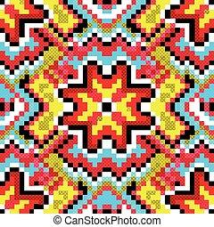 blaues, rot gelb, geometrisch, abstrakt, hintergrund, pixel