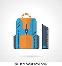 blaues, rucksack, wohnung, vektor, ikone