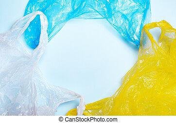 blaues, säcke, begriff, plastik, hintergrund, verwerten wieder, verunreinigung