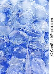 blaues, säcke, hintergrund, plastik
