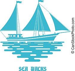 blaues, sailfish, segeln, wohnung, segel, hintergrund., sea., wellen, schiff, weiß rot