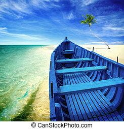 blaues, sandstrand, boot