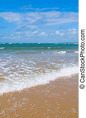 blaues, sandstrand, himmelsgewölbe, meer, tief