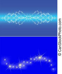 blaues, satz, himmelsgewölbe, zwei, dunkel, sternen, stauung, banner