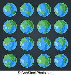 blaues, satz, kontinente, erdball, ozeane, effekt, grün, glänzend, karikatur, 3d